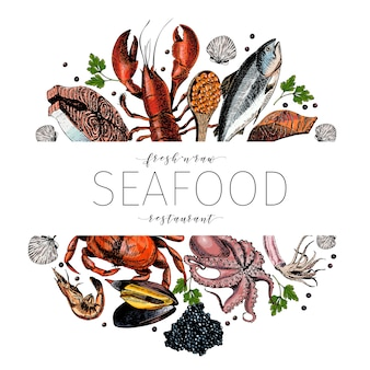 Vector hand drawn seafood colored banner