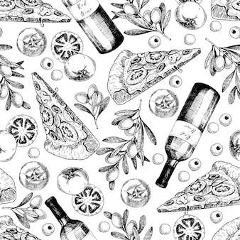 Vector hand drawn seamless pattern of pizza