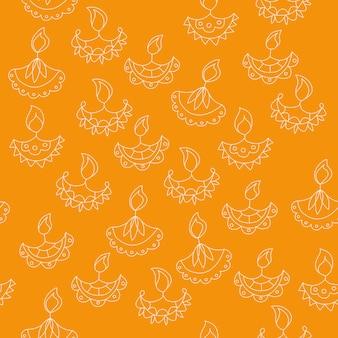 벡터 손으로 그려진된 완벽 한 패턴 디 왈리 기호입니다. 해피 디왈리 휴일 배경