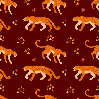 Vector hand drawn seamless pattern with jaguars. ornament with leopards.