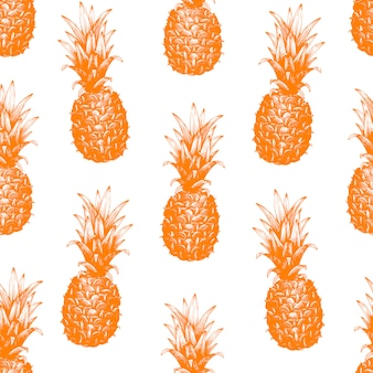 Vector hand drawn seamless pattern with pineapple