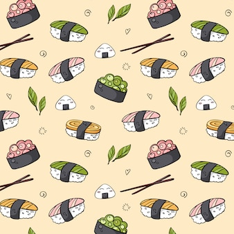 Vector  hand drawn seamless sushi pattern for print