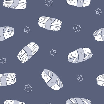 Vector hand drawn seamless sushi pattern