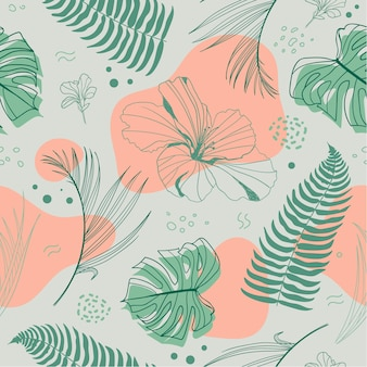 熱帯植物とヤシの葉、花とベクトル手描きのシームレスな熱帯パターン。デザインのためのファッションジャングルプリント。グリーン、ベージュ