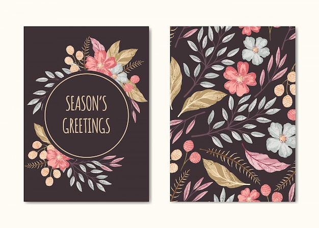 Vector hand drawn season's greeting  card template, floral frame and pattern frame with text