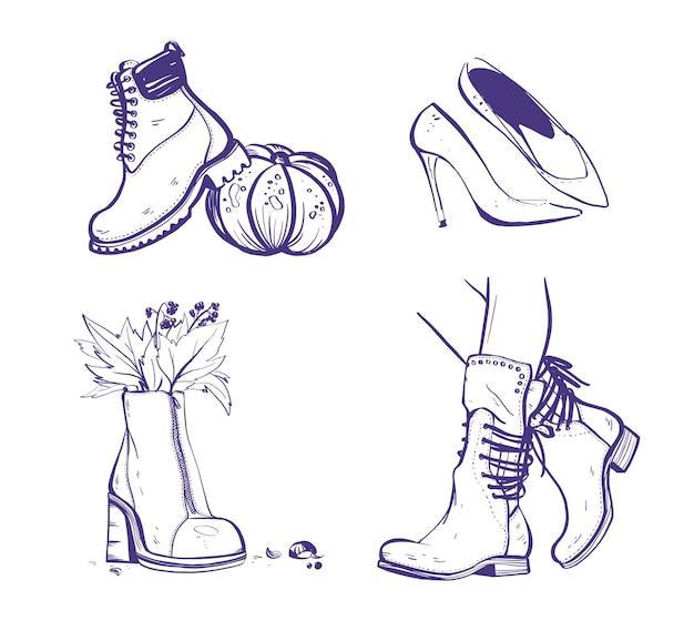 흰색 배경에 격리된 가을/봄 여성 신발과 부츠가 있는 벡터 손으로 그린 트렌디한 패션 일러스트레이션. 마커 스케치 스타일. 배너, 광고, 플래이어, 태그, 포장 등에 적합합니다.