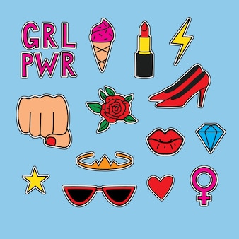Vector hand drawn set stickers about women power. funny illustration