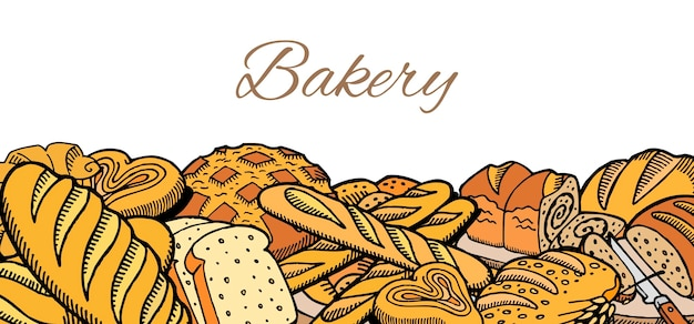 Vector hand drawn sketch baked bread banner