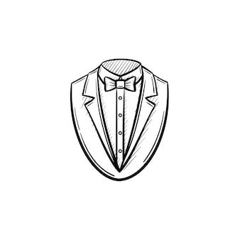 벡터 손으로 그려진된 흡연 복 개요 낙서 아이콘입니다. 흰색 배경에 고립 된 인쇄, 웹, 모바일 및 infographics에 대 한 흡연 한 벌 스케치 그림.