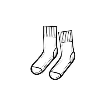 Вектор рисованной носки наброски каракули значок. носки эскиз иллюстрации для печати, интернета, мобильных и инфографики, изолированные на белом фоне.