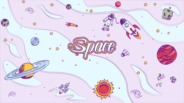 Vector hand drawn space design background with lettering.