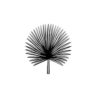 ベクトル手描きのとがったヤシの葉のアウトライン落書きアイコン。とがった手のひらは、白い背景で隔離の印刷物、ウェブ、モバイル、インフォグラフィックのスケッチイラストを残します。