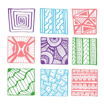 Vector hand drawn squares for coloring book page or decorations. geometrical line doodle set.