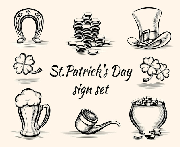Vector hand drawn st patricks day signs illustration