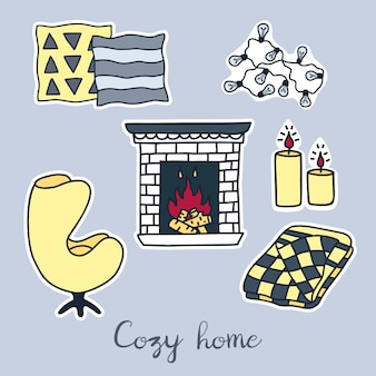 Vector hand drawn stickers set of hygge elements.