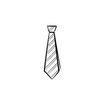 벡터 손으로 그린된 넥타이 개요 낙서 아이콘입니다. 인쇄, 웹, 모바일 및 흰색 배경에 고립 된 infographics에 대 한 넥타이 스케치 그림.
