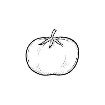 벡터 손으로 그린 토마토 개요 낙서 아이콘입니다. 흰색 배경에 고립 된 인쇄, 웹, 모바일 및 infographics에 대 한 음식 스케치 그림.