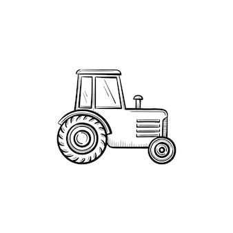 Vector hand drawn tractor outline doodle icon. tractor sketch illustration for print, web, mobile and infographics isolated on white background.