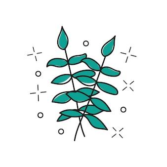 Вектор рисованной веточки - стилизованное растение, мазки, элемент дизайна, принт - дизайн векторной иллюстрации - текстильный графический принт футболки