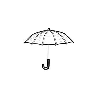 벡터 손으로 그린된 우산 개요 낙서 아이콘입니다. 흰색 배경에 고립 된 인쇄, 웹, 모바일 및 infographics에 대 한 우산 스케치 그림.
