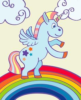 Vector hand drawn unicorn dancing