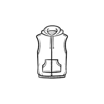 Вектор рисованной жилет куртка наброски каракули значок. иллюстрация эскиза свитера для печати, интернета, мобильных устройств и инфографики, изолированные на белом фоне.