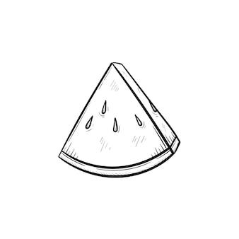 벡터 손으로 그린 수박 개요 낙서 아이콘입니다. 흰색 배경에 고립 된 인쇄, 웹, 모바일 및 infographics에 대 한 수박 스케치 그림.