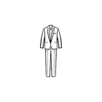 벡터 손으로 그린된 웨딩 정장 개요 낙서 아이콘입니다. 흰색 배경에 고립 된 인쇄, 웹, 모바일 및 infographics에 대 한 옷 스케치 그림.