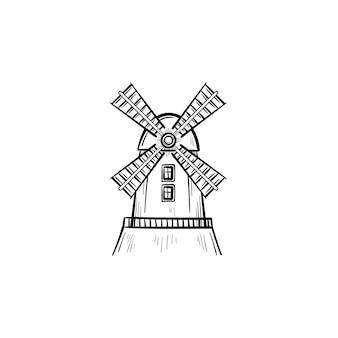 벡터 손으로 그린 풍차 개요 낙서 아이콘입니다. 인쇄, 웹, 모바일 및 흰색 배경에 고립 된 인포 그래픽에 대 한 풍차 스케치 그림.