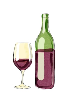 ベクトル手描きのワインボトルとガラス。デジタル水彩。