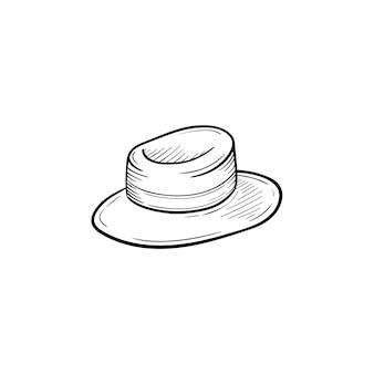 벡터 손으로 그린 여성 밀짚 파나마 개요 낙서 아이콘입니다. 흰색 배경에 고립 된 인쇄, 웹, 모바일 및 infographics에 대 한 모자 스케치 그림.