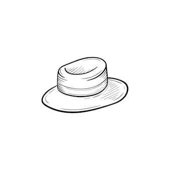 Vector hand drawn women straw panama outline doodle icon. hat sketch illustration for print, web, mobile and infographics isolated on white background.