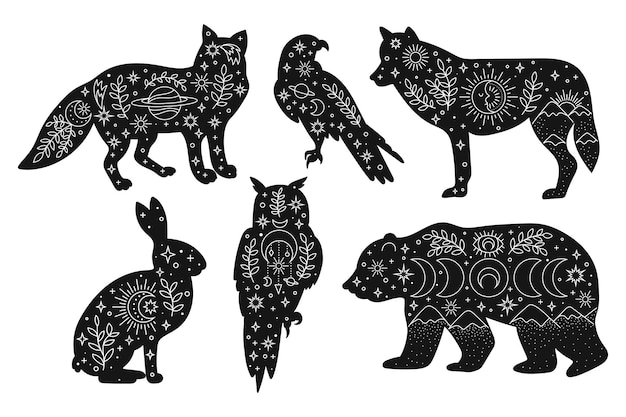 Vector hand drawn woodland animals with boho elements for decoration bohemian clipart