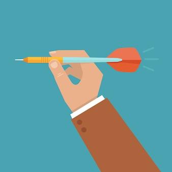 Vector hand holding dart
