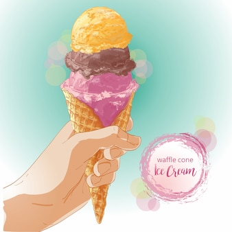 Vector hand holding ice cream in waffle cone