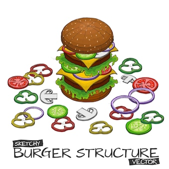 Vector hand sketch with color of burger and components