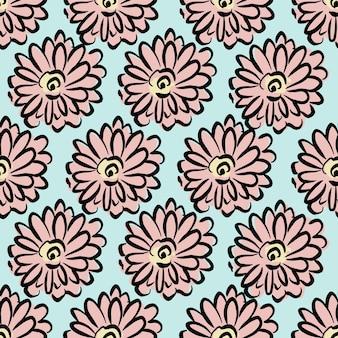 벡터 handdrawn 검은 선 개요 큰 꽃 그림 모티브 원활한 반복 패턴
