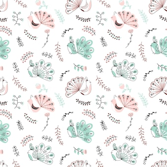 Vector handdrawn childish seamless pattern with peacock and floral on a white background