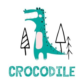 Векторная иллюстрация handdrawn для детей милого зеленого крокодила