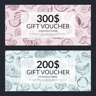 Vector handdrawn doodle fruits and vegetables gift voucher templates. gift card design illustration