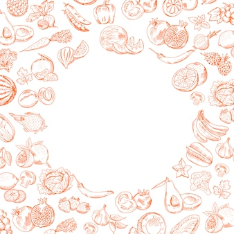 Vector handdrawn doodle fruits and vegetables set with round empty place for your text illustration