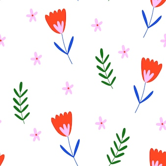 Vector handdrawn floral seamless pattern botanical print repeated fabric design