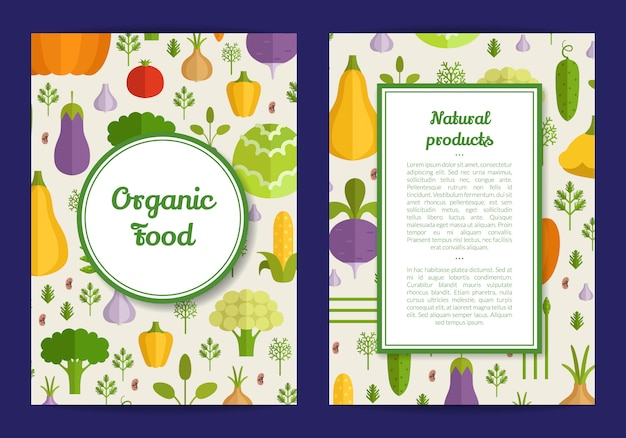 Vector handdrawn fruits and vegetables card, brochure, flyer template. organic food banner illustration