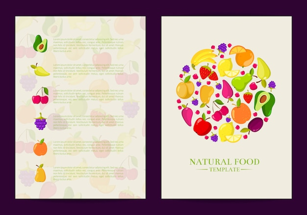 Vector handdrawn fruits and vegetables card, brochure, flyer template. poster and banner illustration