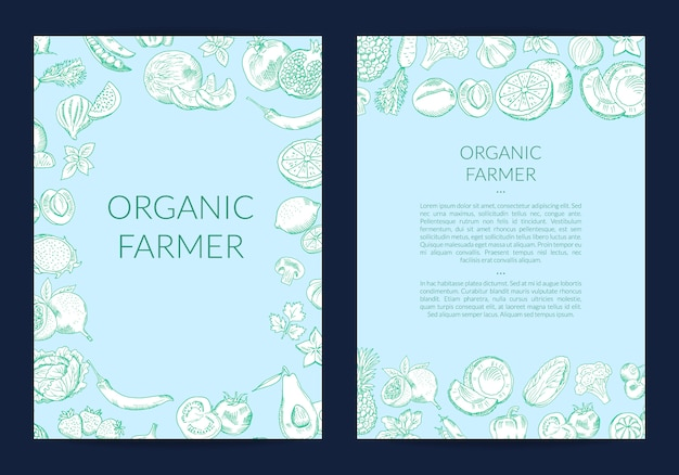 Vector handdrawn fruits and vegetables flyer template