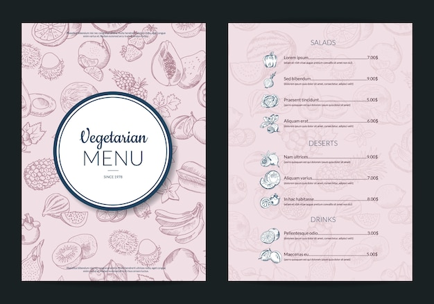 Vector handdrawn fruits and vegetables menu template