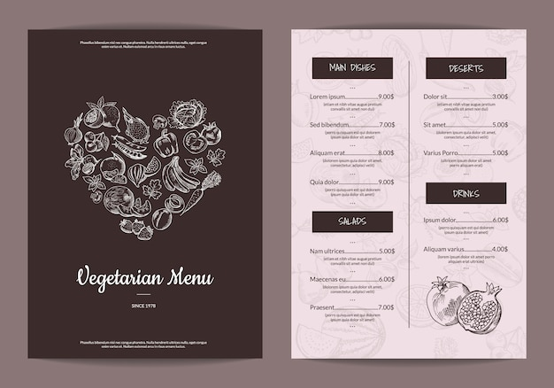 Vector handdrawn fruits and vegetables vegan menu template