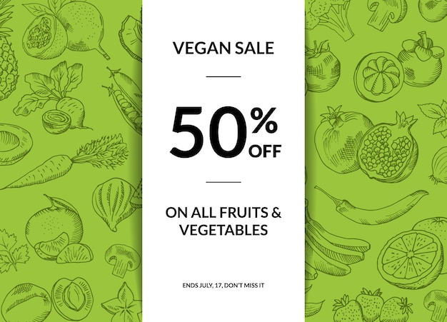 Vector handdrawn fruits and vegetables vegan sale background with shadows illustration