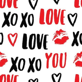 Вектор handdrawn узор с надписью люблю тебя, поцелуй и сердце