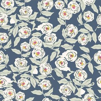 벡터 handdrawn 펜 그리기 추상 복고풍 꽃과 잎 원활한 반복 패턴 디지털 파일